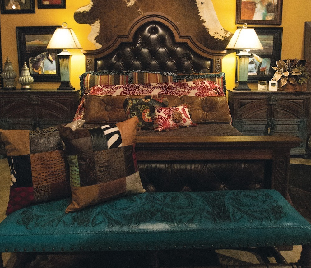 bedroom furniture display with accessories