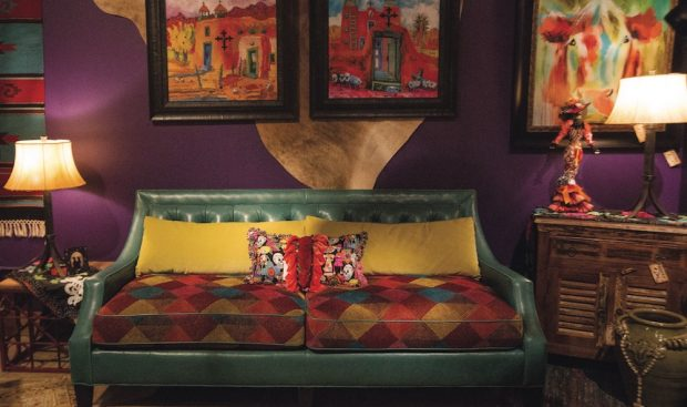 furniture and accessories with pops of color